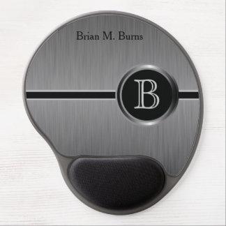 Executive Monogram Design | Black Brush Steel Gel Mouse Pad