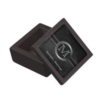 Executive Monogram Design | Black Smudge Jewelry Box