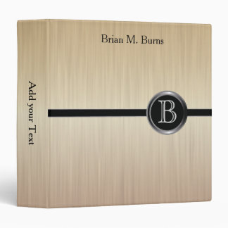 Executive Monogram Design - Citrine Brush Steel 3 Ring Binder