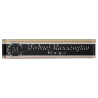 Executive Monogram Design- Citrine Brush Steel Nameplate
