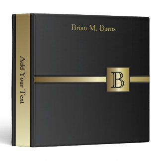 Executive Monogram Design - Classic Black Binder