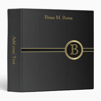 Executive Monogram Design - Classic Black Binder