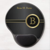 Executive Monogram Design | Classic Black Gel Mouse Pad