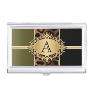 Executive Monogram Design | Jaguar Animal Print Business Card Case