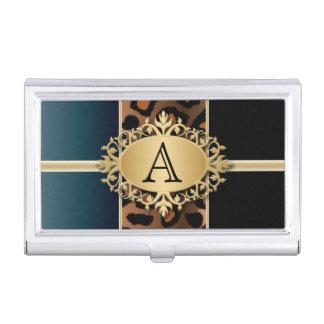 Executive Monogram Design | Jaguar Animal Print Business Card Holder