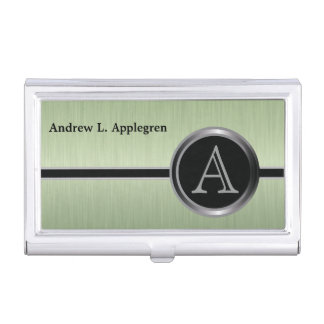 Executive Monogram Design - Peridot Brush Steel Case For Business Cards