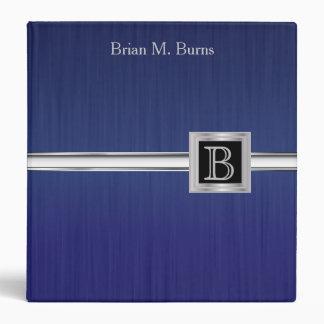 Executive Monogram Design - Steel Brush Blue 3 Ring Binder