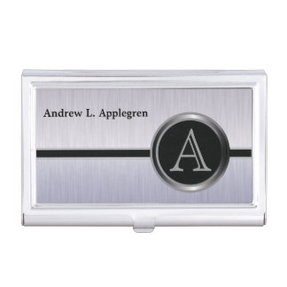 Executive Monogram Design | Tanzanite Brush Steel Case For Business Cards