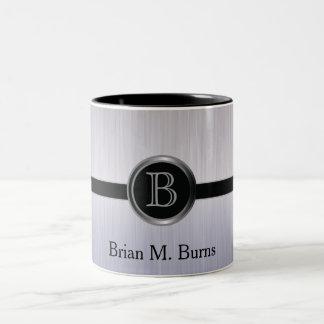 Executive Monogram Design - Tanzanite Brush Steel Two-Tone Coffee Mug