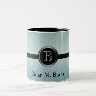 Executive Monogram Design - Turquoise Brush Steel Two-Tone Coffee Mug