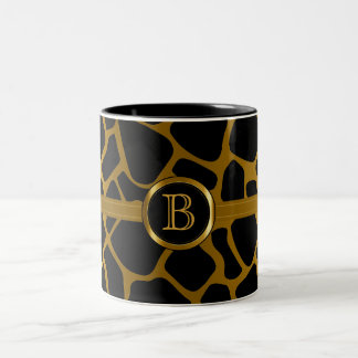 Executive Monogram - Gold & Black Giraffe Pattern Two-Tone Coffee Mug