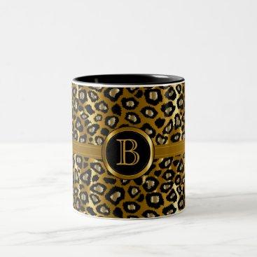 Professional Business Executive Monogram - Gold & Black Leopard Pattern Two-Tone Coffee Mug