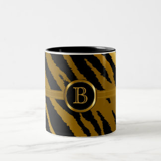 Executive Monogram - Gold & Black Zebra Stripes Two-Tone Coffee Mug