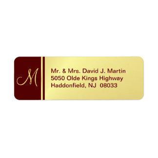 Executive Monogram Labels - Gold & Burgundy