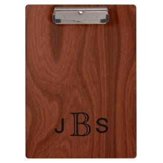 Executive Monogrammed Initials Mahogany Wood Look Clipboard