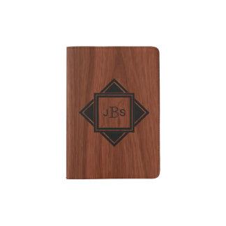 Executive Monogrammed Initials | Rustic Woodgrain Passport Holder
