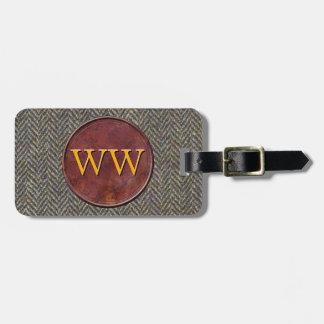 Executive Travel Tweed + Leather Custom Monogram Bag Tag