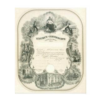 Exempt Fireman Certificate 1898 Canvas Print