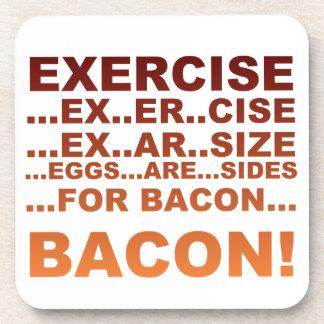 Exercise bacon drink coaster