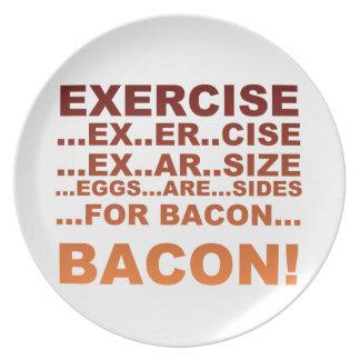 Exercise bacon melamine plate