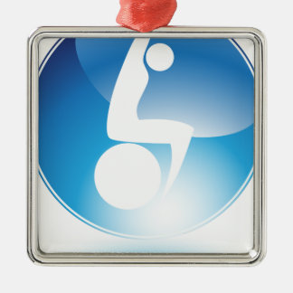 Exercise Ball Stretching Exercise Man Icon Square Metal Christmas Ornament