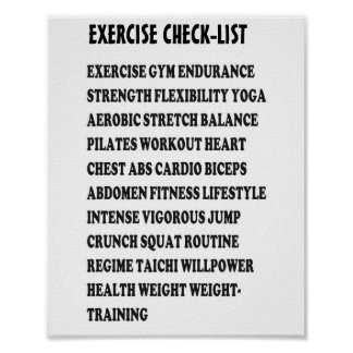 EXERCISE CHECK-LIST GYM Weight Health Heart Cancer Print