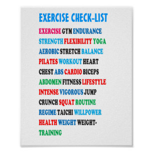 EXERCISE CHECK LIST GYM Weight Health Heart Cancer Poster