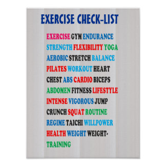 EXERCISE CHECK-LIST GYM Weight Health Heart NOVINO Poster