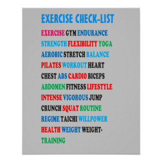 EXERCISE CHECK-LIST GYM Weight Health Heart nvn609 Print