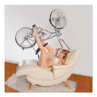 Exercise Cycle Babe Bike Dreams Pinup Girl Poster