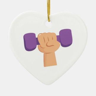Exercise Dumbbell Double-Sided Heart Ceramic Christmas Ornament