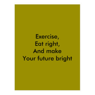 exercise, eat right postcard