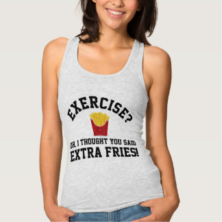 Exercise, Extra Fries Anti-Workout Funny Food Tank Top