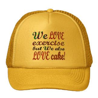 Exercise, Love, Hearts, Cake Trucker Hat