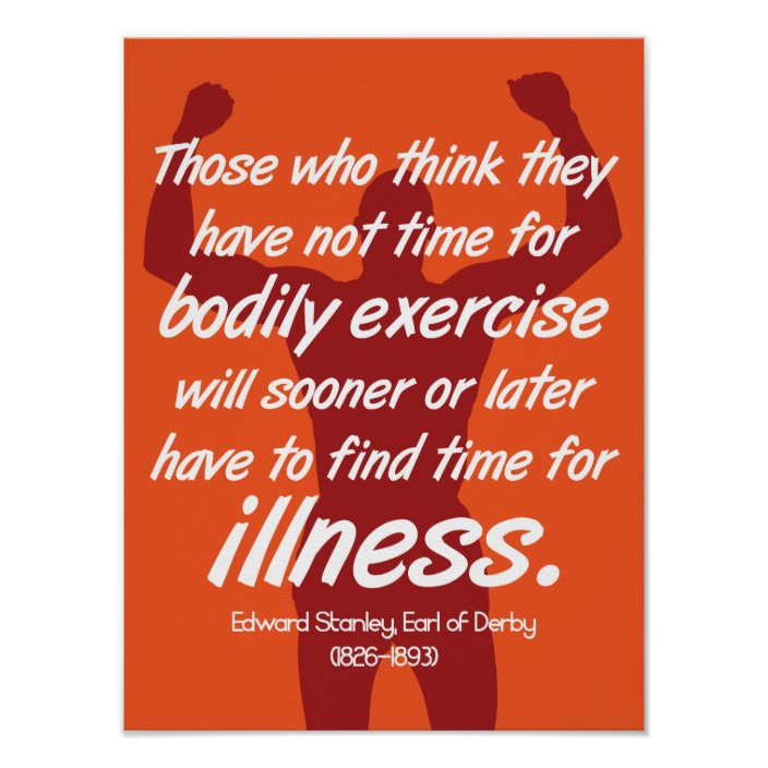 Exercise Or Illness Fitness Motivation Quote Poster Zazzle Com