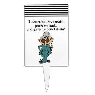 Exercise, Push, Jump Humor Cake Topper