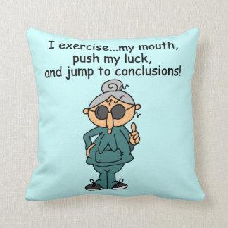 Exercise, Push, Jump Humor Throw Pillow