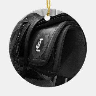 Exercise Rider's Saddle Ceramic Ornament