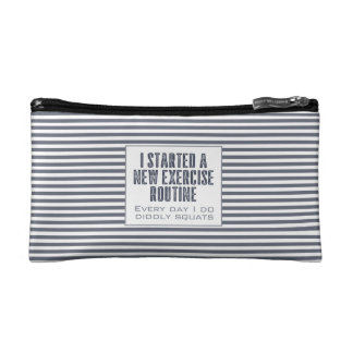 Exercise Routine Blue Stripes Funny Quote Cosmetic Bag