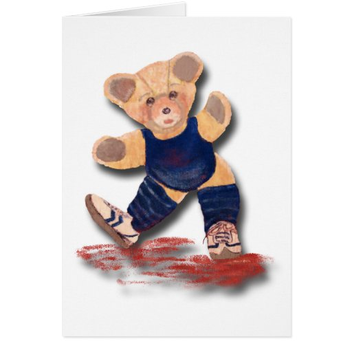 Exercise Teddy Bear Greeting or Note Card
