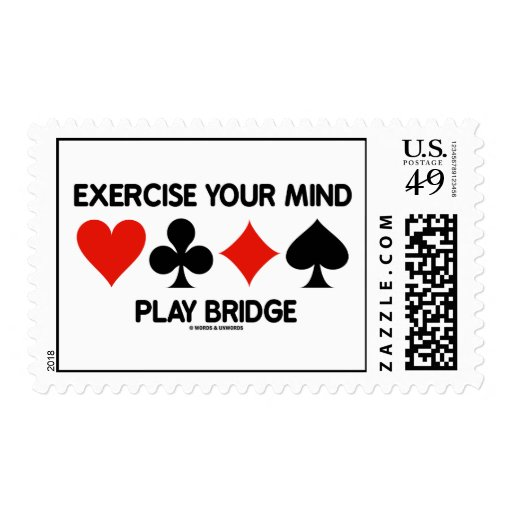 Exercise Your Mind Play Bridge (Four Card Suits) Postage Stamps