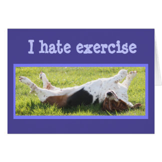 Exercising Basset Hound on Funny Birthday Card
