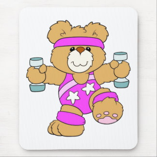 Exercising Teddy Bear Mouse Pad