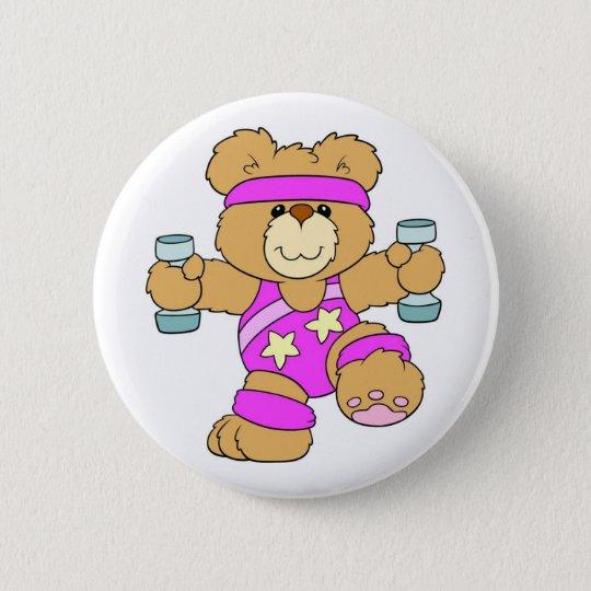Exercising Teddy Bear Pinback Button