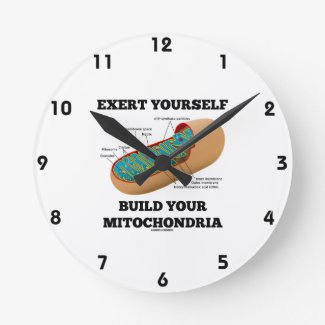 Exert Yourself Build Your Mitochondria Round Wallclock
