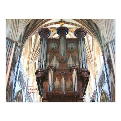 Exeter Cathedral organ,  Devon, England, postcard