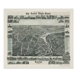 Exeter, mapa panorámico del NH - 1896 Póster