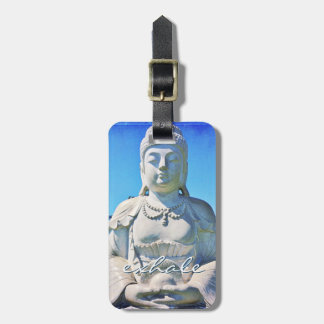 """Exhale"" Quote Peaceful Hawaii White Buddha Photo Luggage Tag"