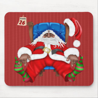 Exhausted African American Santa Christmas Holiday Mouse Pad
