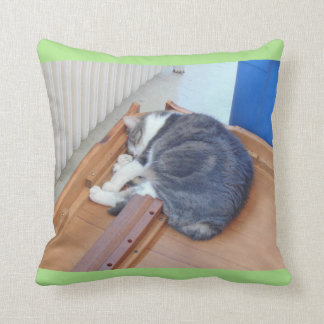 'Exhausted After A Move Kitty' Throw Pillow
